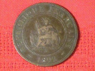 1892 - A Cent / French Indo - China (chopped Ever Slightly) photo