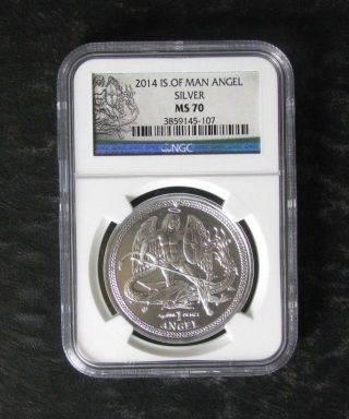 2014 Ngc Ms70 Isle Of Man Angel 1 Oz Silver Coin - photo