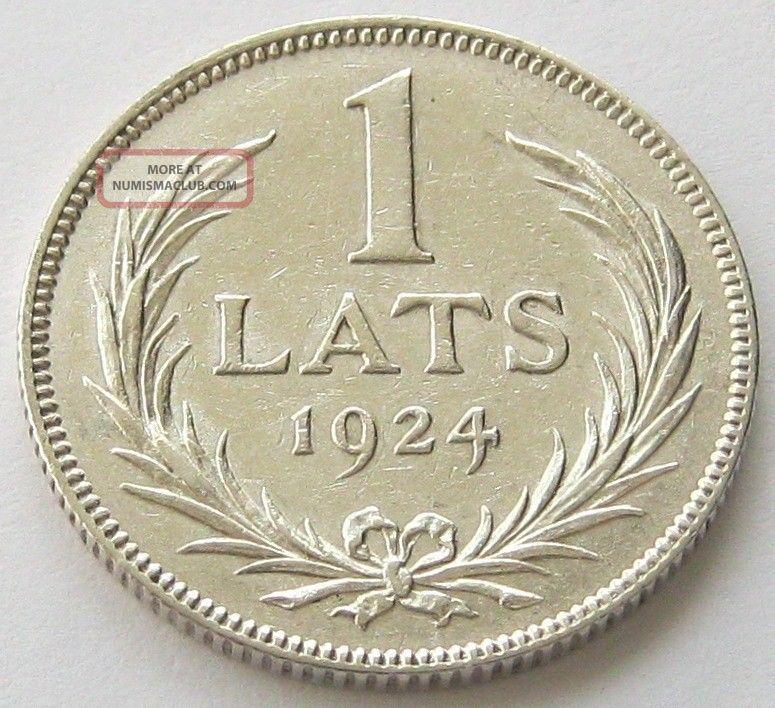 Latvia,  Silver Coin,  1 Lats 1924,  Top,  Xf,  Scarce Europe photo