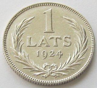 Latvia,  Silver Coin,  1 Lats 1924,  Top,  Xf,  Scarce photo