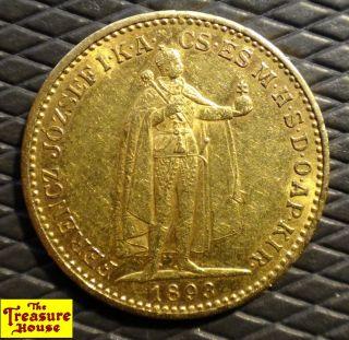 1893 Hungary 20 Kr Twenty Korona 90 Solid Gold Bullion Coin Ferencz Jozsef Nr photo