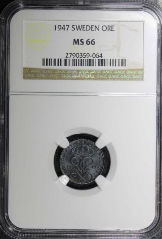 Sweden Gustaf V Iron 1947 1 Ore Ngc Ms66 Top Graded Wwii Issues.  Km 810 photo