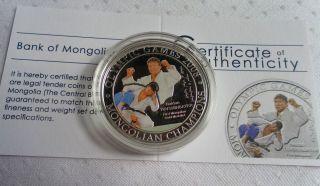 Judo Naidan Tuvshinbayar Silver Coin 500 Togrog Mongolia 2008 Olympic Games photo