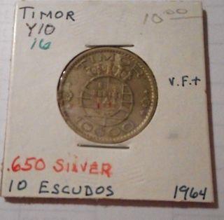 Timor Coin K16 Silver 10 Escudo 1964 Vf, photo