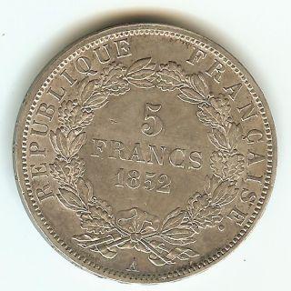 France 5 Francs 1852 Napoleon Iii photo