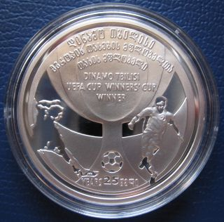 Football Silver 2 Lari Commemorative Coin Georgia 2006 photo