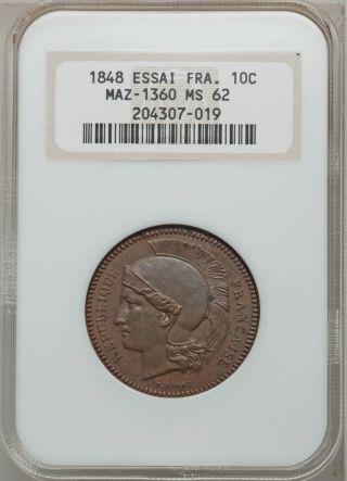 France,  1848,  10 Centimes [essai] [pattern] [mazard 1360] [ms 62 Ngc] [rare] photo