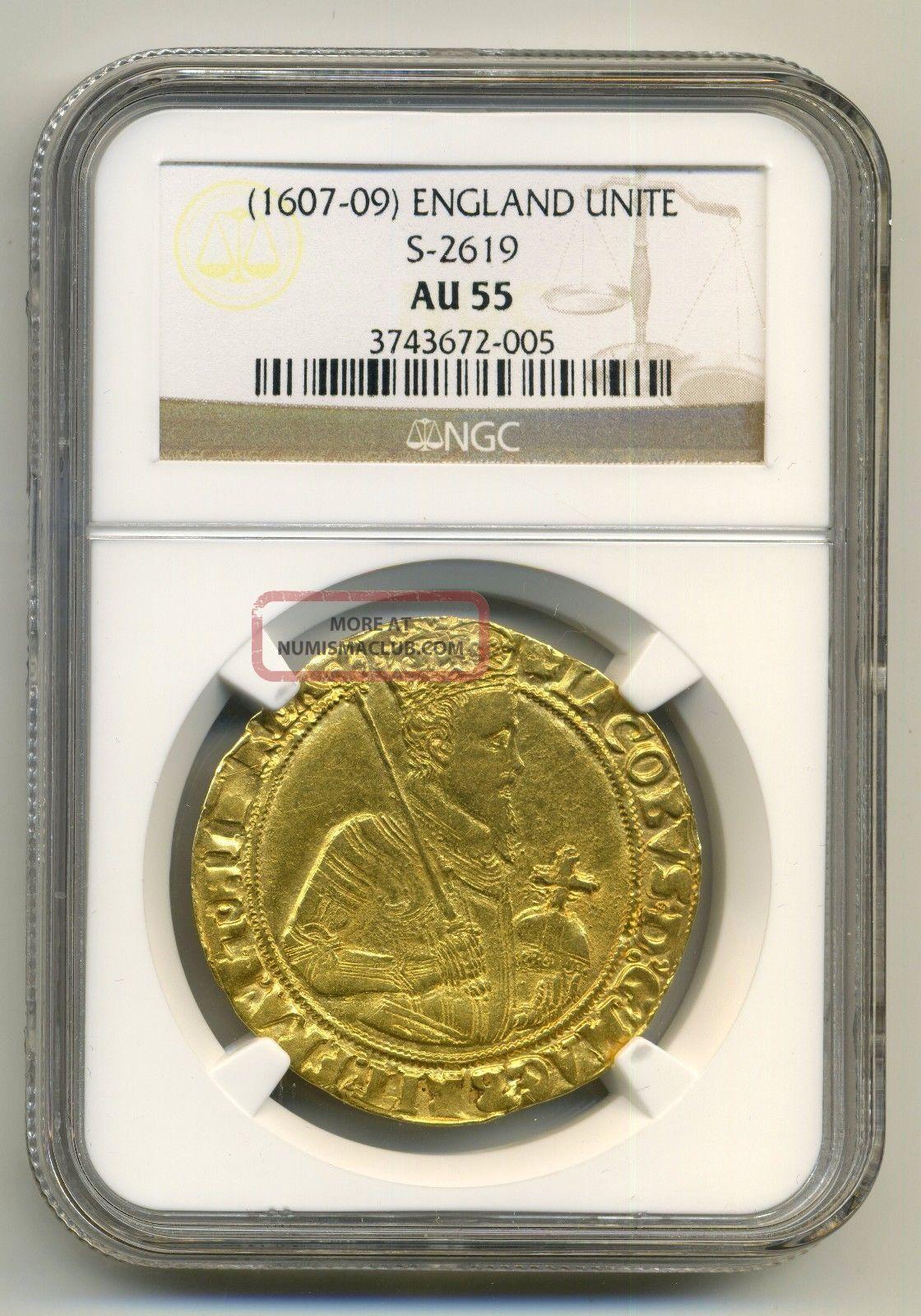 England 1607 1609 Unite Ngc Au55 James I Very Rare Coin