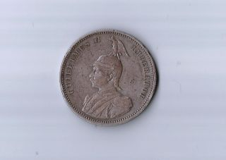 Rare Colonial German East Africa - Silver 1 Rupee 1890 Ad - Emperor Wilhelm Ii photo