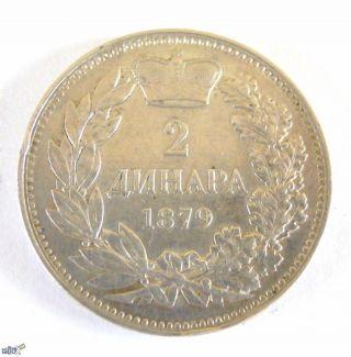 Serbia - 2 Dinara 1879 - Milan I photo