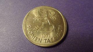 Finland 1971,  One Markka.  Coin With Luster. photo