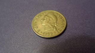 Dominican Republic 1959,  Five Centavos.  Sharp Details Full Libertad photo