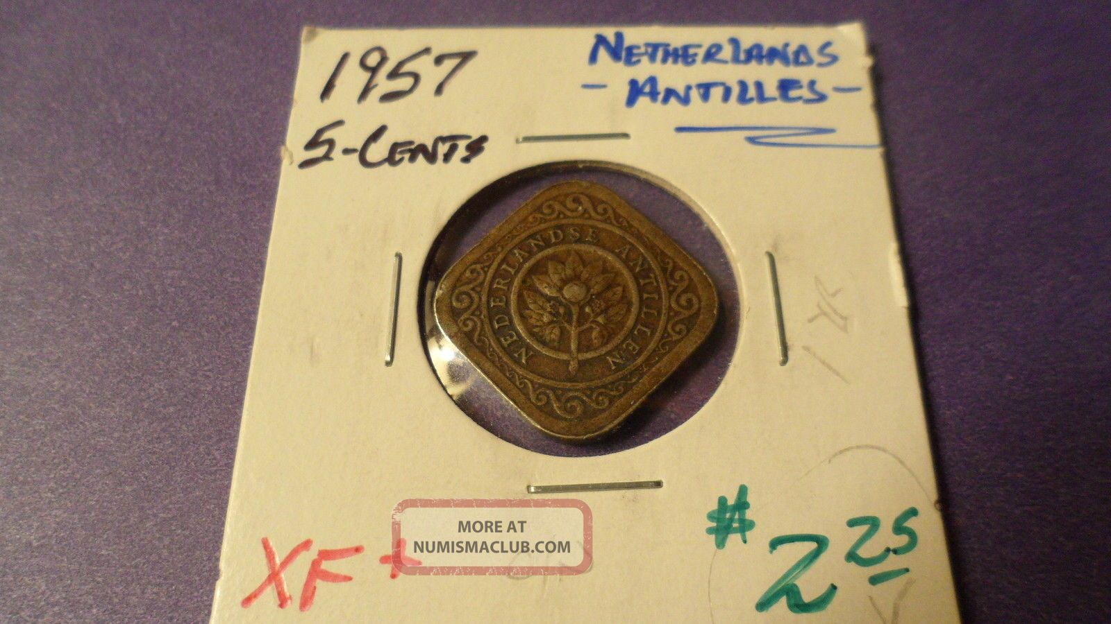 Netherlands Antilles 1957,  Five Cents.  Details Coins: World photo