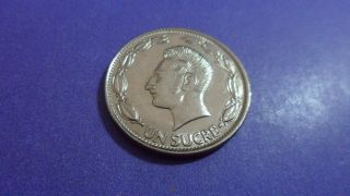 Ecuador 1980,  One Sucre.  Uncirculated? Dig Those Sideburns photo