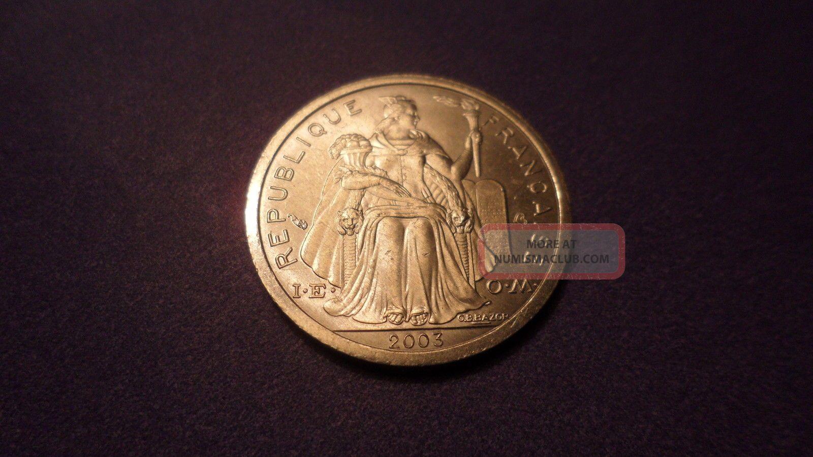 French Polynesia 2003,  One Franc.  B U Tiful Coin. Coins: World photo