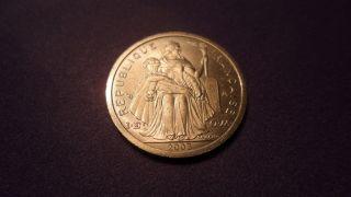 French Polynesia 2003,  One Franc.  B U Tiful Coin. photo