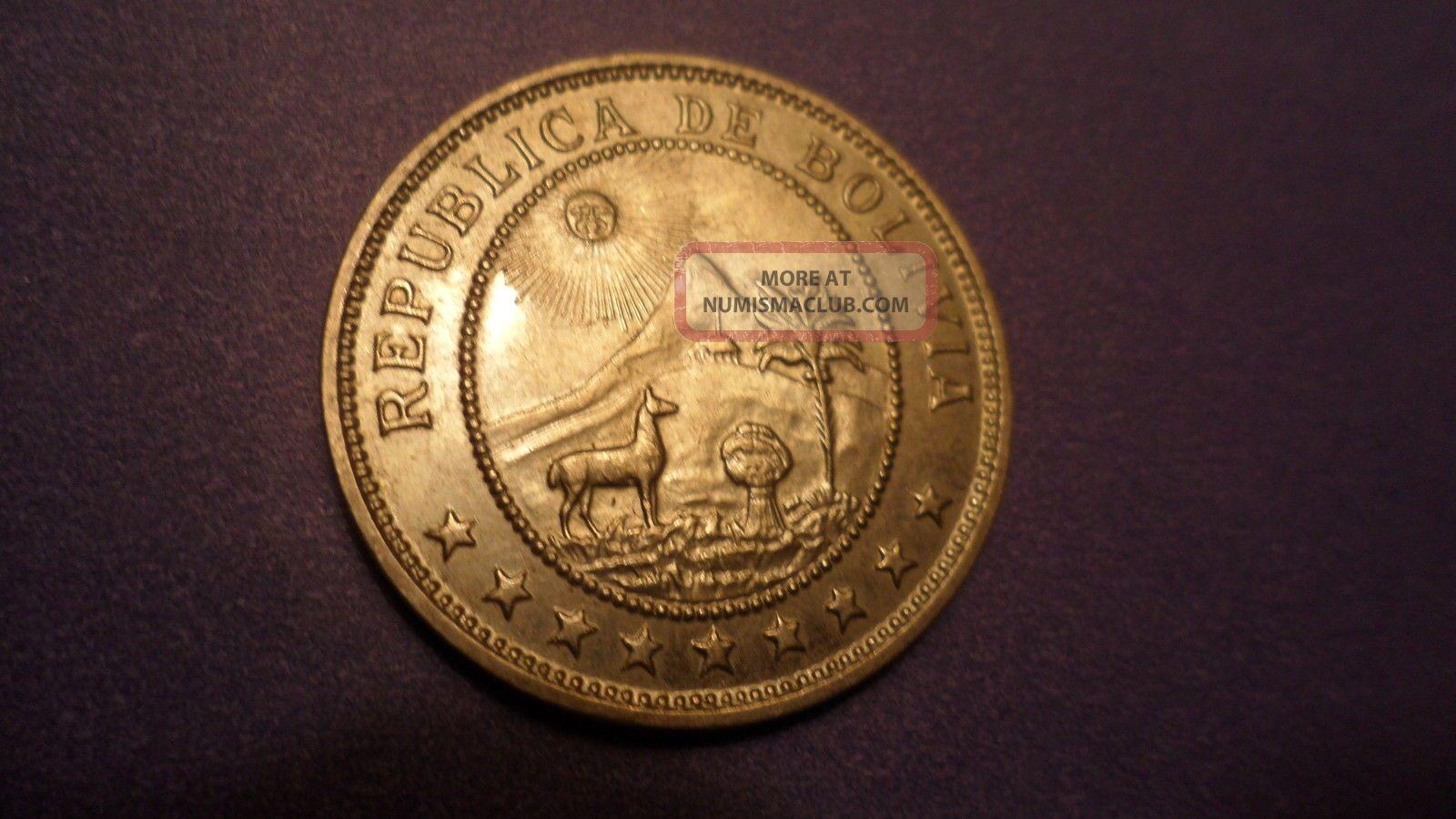 Bolivia 1939,  Fifty Centavos = Half Boliviano.  Sweet Coins: World photo