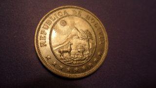 Bolivia 1939,  Fifty Centavos = Half Boliviano.  Sweet photo