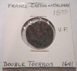 France Gaston Of Orleans Double Tournois 1641 Vf photo