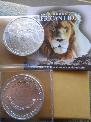 2015 Burundi 1 Oz.  999 Silver African Lion Round Reeded Edge,  50k.  Minted photo