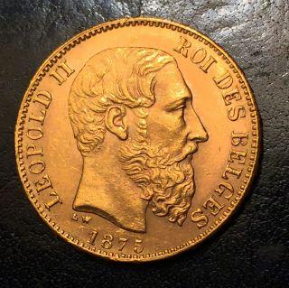 Belgium 1875 20 Francs Gold (leopold Ii) - Brilliant Uncirculated photo