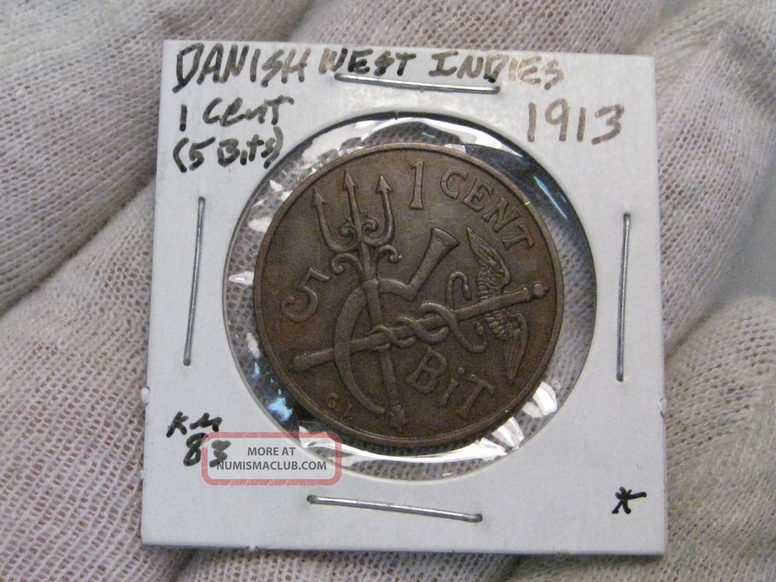 Rare Danish West Indies 1913 Better Grade 1 Cent Old Caribbean Coin Vf Xf