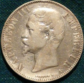 1855 - A 5 Francs Paris Silver Coin Napoleon Iii Km 782.  1 Dav - 95 Ungraded photo