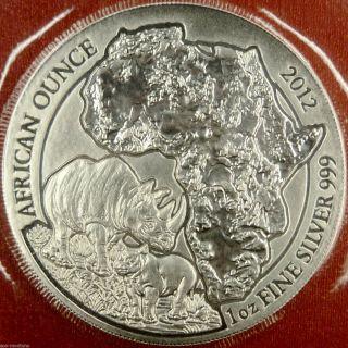 2012 Rwanda Rhino 1 Oz.  999 Silver African Rhinoceros Bullion Coin photo
