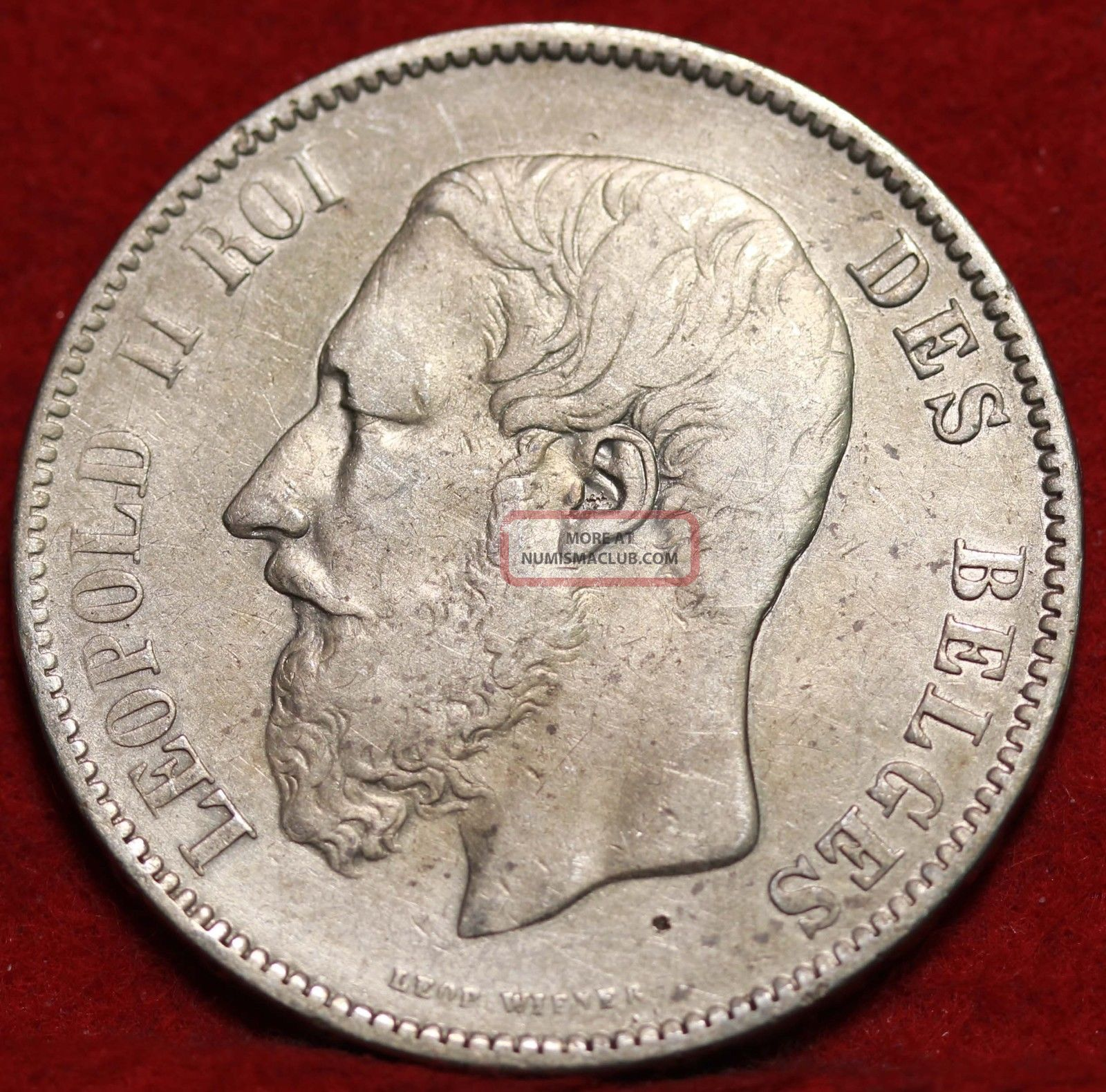 1870 Belgium 5 Francs Silver Foreign Coin S/h Europe photo