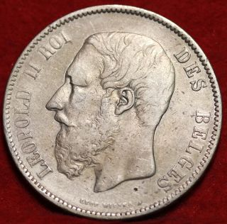 1870 Belgium 5 Francs Silver Foreign Coin S/h photo
