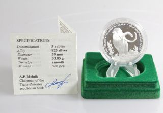 2007 Transnistria 5 Rubles Archidiskodon Trogonterii Elephant Silver Proof Coin photo
