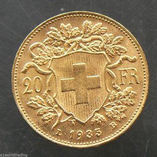 1935 - B Swiss Helvetia 20 Francs Gold Coin photo