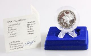 2008 Transnistria 10 Rubles Tulip Proof Silver Coin And Ogp photo
