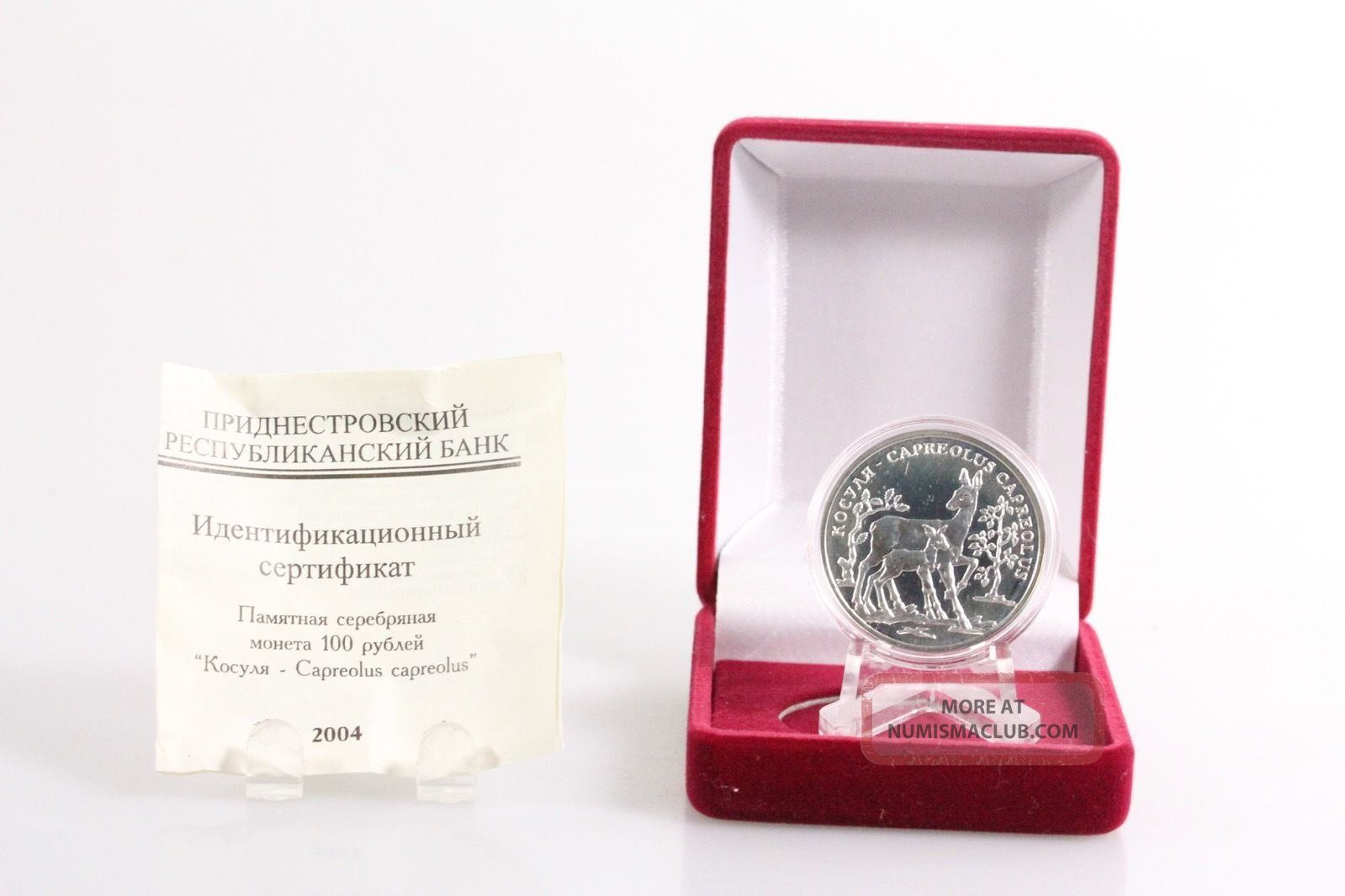 2004 Transnistria 100 Rubles Roe Deer Proof - Like Silver Coin,  Box,  Rare Nr Coins: World photo