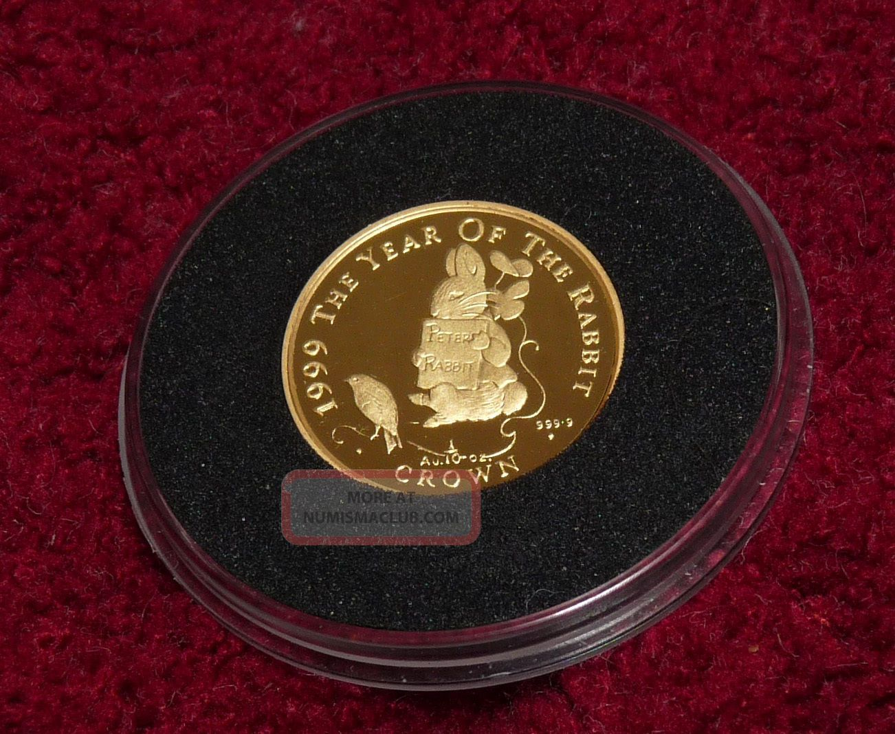 Uk Gibraltar 1999 Tale Of Peter Rabbit 1/10 Oz.  9999 Gold Proof Coin.  Pobjoy Europe photo