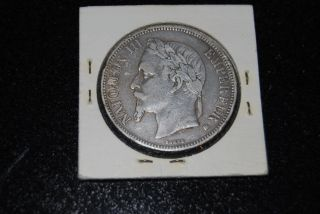 France Silver Coin,  5 Franc - 1868 photo