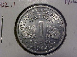 1944 France 1 Franc Au/unc Km 902.  1.  99c photo