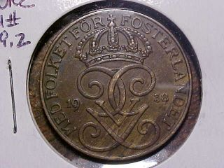 1938 Sweden 5 Ore In Xf,  Km 779.  2.  99c photo