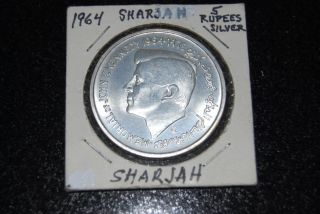 Sharjah Silver Coin 5 Rupees 1964 Uncirculated photo