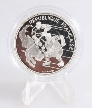 1990 France 100 Francs 1992 Olympic Games Hockey And Ibex Silver Proof Coin photo