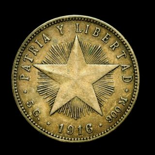 West Indies/central America Silver 20 Centavos 1916 Toned Very Fine Plus photo