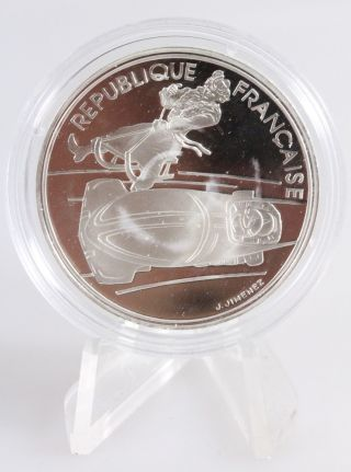 1990 France 100 Francs 1992 Olympic Games Bobsledding Silver Proof Coin photo