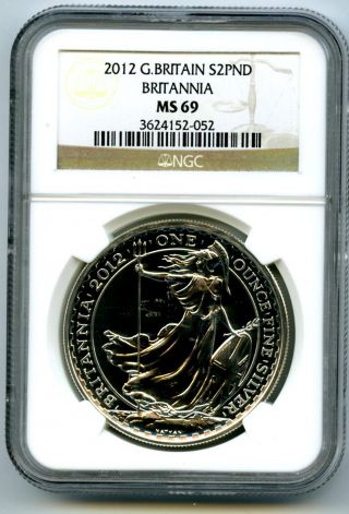 2012 Great Britain 1 Oz Silver Britannia Ngc Ms69 £2 Bullion 25th Anniversary photo