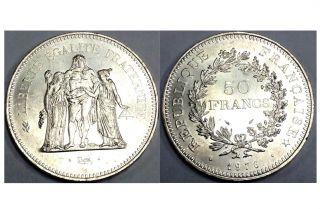 50 Francs 1976,  Choice B.  U. ,  Silver