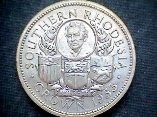 Southern Rhodesia 1953 Crown,  Birth Of Cecil Rhodes Centennial,  Silver Unc photo