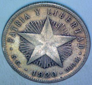 Caribbean 1920 20 Centavos Silver Coin photo