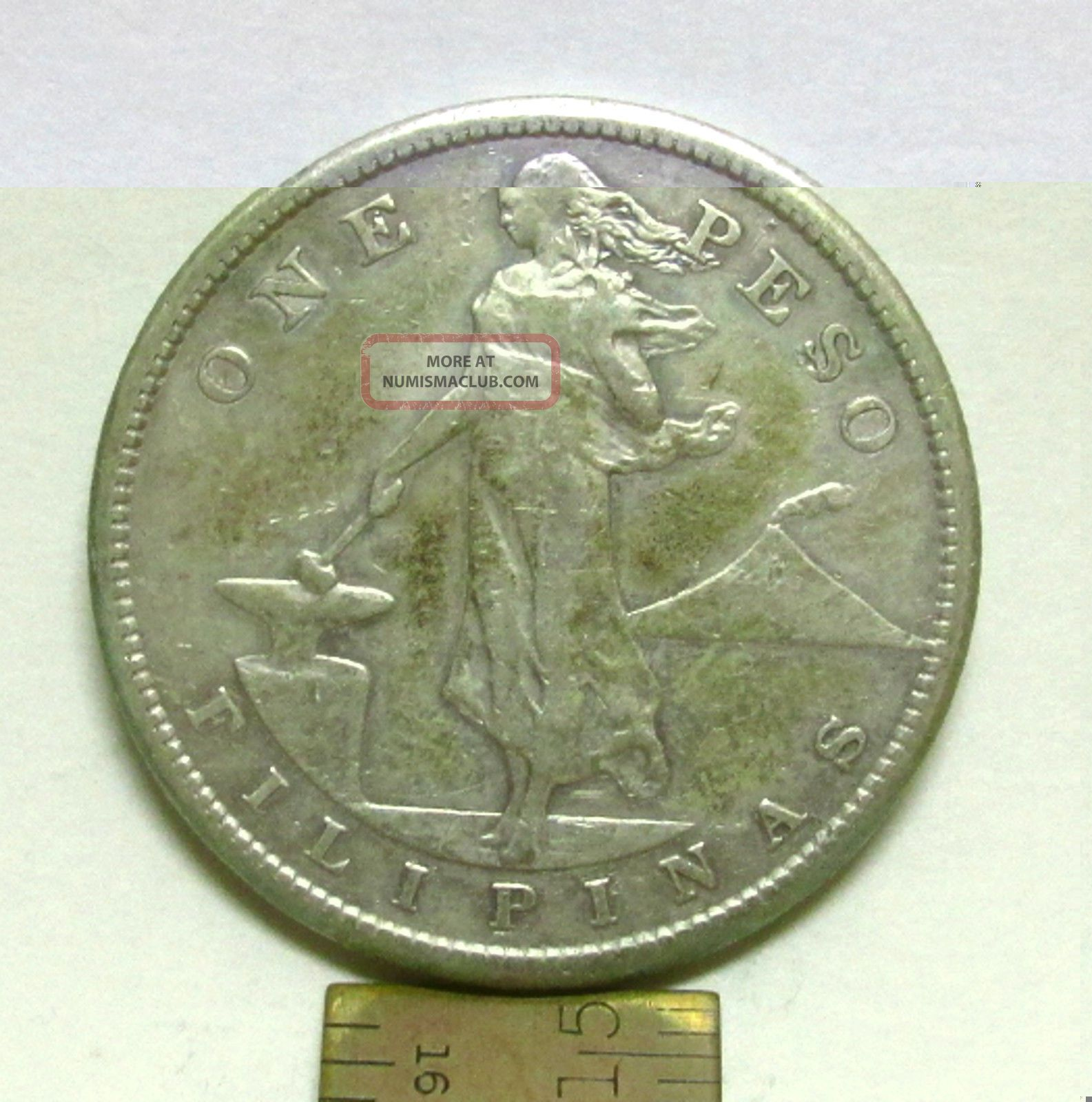 1907 Us Philippines One Peso Silver Coin, S, 80 Silver ...