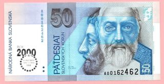 Slovakia 50 Korun 1993 (2000) Crisp Uncirculated Banknote - Bimilenium Scarcer photo