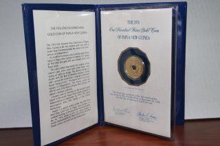 1976 Papua Guinea 100 Kina Gold.  900 Pure.  2769 Agw Troy Oz Fine Proof Pf Ac photo