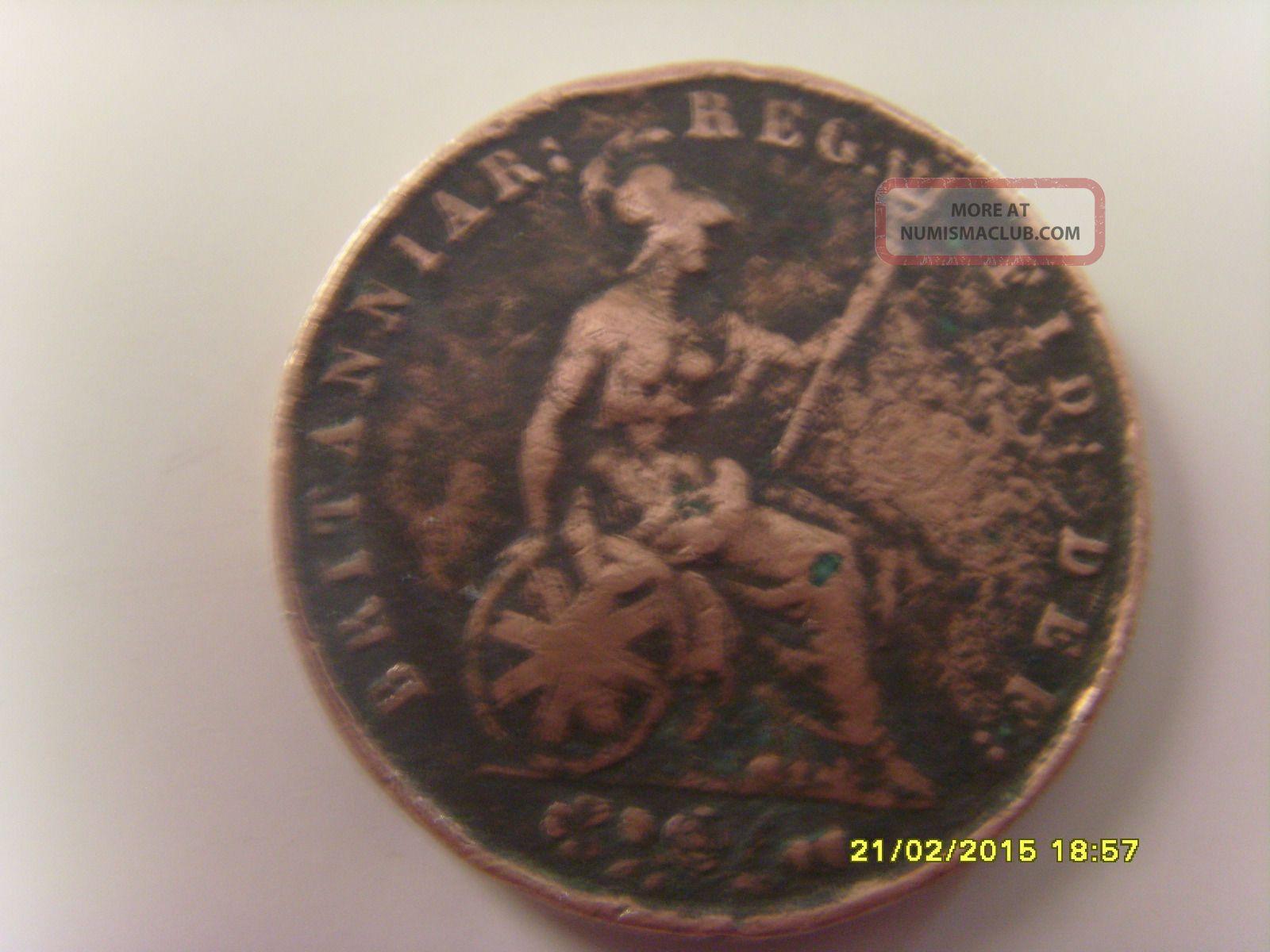 1838 Victoria Dei Gratia Britanniar Reg Fid Def Brass Coin Rare Coins: World photo